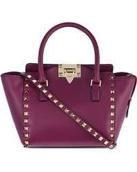 Valentino Rockstud Mini Leather Tote - For Women - Lyst