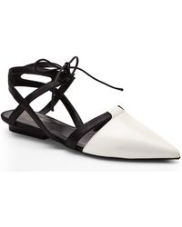 Narciso Rodriguez Black  White Lace-up Flats - Lyst