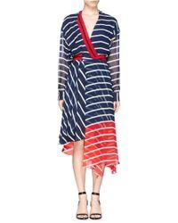 Preen 'Flintoff' Rib Trim Stripe Silk Faux Wrap Dress blue - Lyst