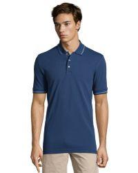 Robert Graham Navy Haze Piquã© Knit Cotton Polo Shirt - Lyst