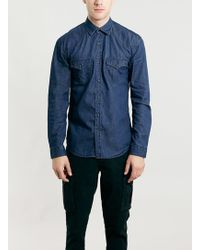 Topman Selected Homme Navy Shirt - Lyst
