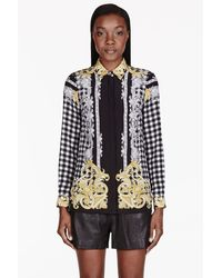 Versace Black Printed Silk Shirt - Lyst