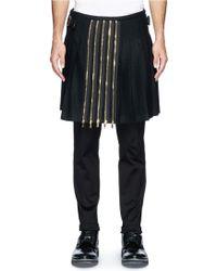 Alexander McQueen Zip Pleat Front Wool Felt Kilt - Lyst