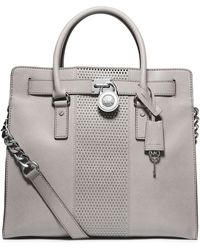 Michael by Michael Kors Leather Large Microstud Stripe Tote Bag - Lyst