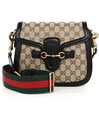 Gucci | Lady Web Medium Gg Canvas Shoulder Bag | Lyst