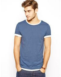 Asos Longline T-Shirt with Double Layer Effect and Roll Sleeve - Lyst