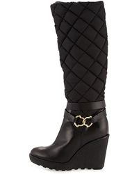 Moncler - New Cernobbio Quilted Wedge Boot - Lyst