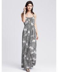 Banana Republic Leaf-Print Cross-Back Patio Dress - Lyst