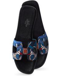 Hermès Oran Box Leather Sandals - Lyst