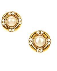 Chanel Pre-Owned Pearl Round Earring - Lyst