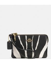 Coach Small Lzip Wristlet in Zebra Embossed Leather - Lyst