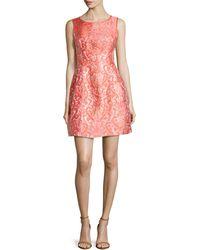 Aidan Mattox Pineapple Shimmerjacquard Fitandflare Dress - Lyst