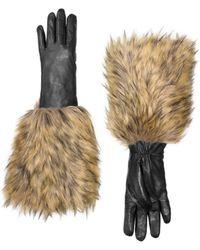 Kate Spade - Faux Fox Fur Leather Gloves - Lyst