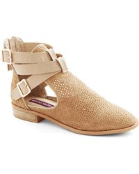 ModCloth At The Cutting Edge Bootie in Beige - Lyst