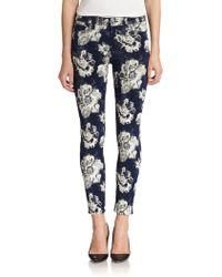 7 For All Mankind Floral Jacquard Ankle Skinny Jeans - Lyst