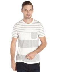 Burberry Pale Grey and White Striped Tolsford Tshirt - Lyst