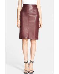 Alexander McQueen Leather Pencil Skirt - Lyst