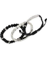 Steve Madden Silver-tone Mixed Bead and Crystal Macrame Friendship Bracelet Set - Lyst
