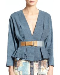 Donna Karan New York Frayed-Hem Belted Jacket - Lyst