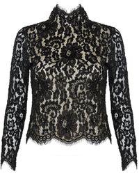 alice + olivia Rika Embellished Lace Boxy Top black - Lyst