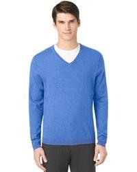 Calvin Klein Merino Solid V Neck Pullover - Lyst