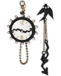 Betsey Johnson Two-tone Clock and Bird Mismatch Drop Earrings - Lyst