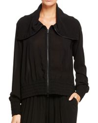 Donna Karan New York Long Sleeve Filled Collar Jacket With Elastic Cuffs And Waist black - Lyst