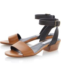 Steve Madden Terrance Leather Block Heel Sandals - Lyst
