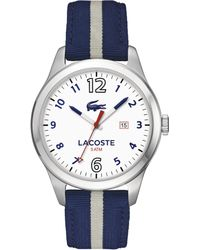 Lacoste Mens Auckland Blue and Grey Nylon Strap Watch 44mm - Lyst