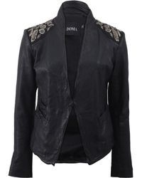Doma Embroidered Shoulders Leather Blazer - Lyst
