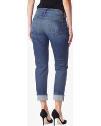7 For All Mankind | The Relaxed Skinny With Destroy In Aggressive Bright Indigo | Lyst