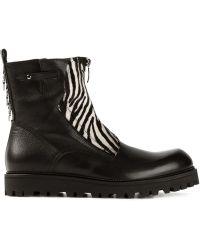 Cesare Paciotti Zebra Detail Zipped Boots - Lyst