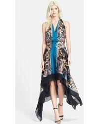 Versace Print Satin Halter Dress - Lyst