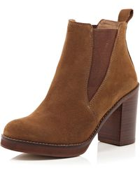River Island Brown Suede Chelsea Block Heel Ankle Boots - Lyst