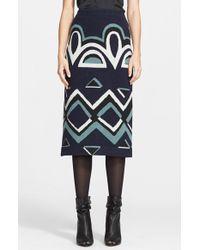 Burberry Prorsum Geometric Floral Needle Punch Skirt blue - Lyst
