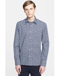 Canali Regular Fit Floral Print Sport Shirt - Lyst
