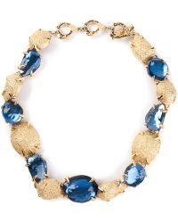 Yves Saint Laurent Vintage Crystal Embellished Necklace - Lyst