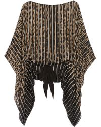 Roberto Cavalli Leopardprint Silkchiffon Kaftanstyle Top - Lyst