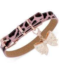 Betsey Johnson | Rose Gold-Tone Pink Leopard Bow Charm Dog Collar | Lyst
