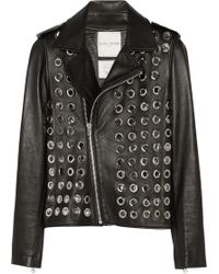 Each X Other Embellished Leather Biker Jacket - Lyst