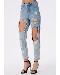 Missguided Extreme Rip Mom Jean Bleached Blue - Lyst