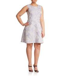 Kay Unger Jacquard Brushstroke Fit-&-Flare Dress gray - Lyst