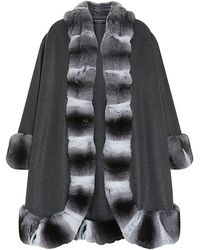 Harrods Of London Chinchilla Trim Cashmere Cape - Lyst
