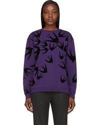 McQ by Alexander McQueen Purple and Black Velvet_flocked Swallow Sweatshirt - Lyst