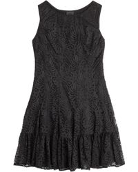 Anna Sui Stretch Dress With Lace Overlay - Lyst