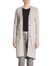 James Perse Striped Stretch-Cotton Cardigan - Lyst