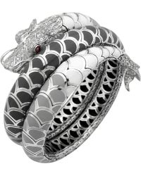 John Hardy Naga Enamel Ombre Coil Bracelet with Pave White Sapphires - Lyst