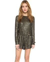 MLV - Ramona Beaded Romper - Black/gold - Lyst