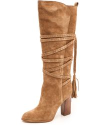 Michael Kors Collection Jessa Tassel Wrap Boots  Camel - Lyst
