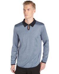 Giorgio Armani Blue Printed Silk Knit Long Sleeve Collared Tee - Lyst